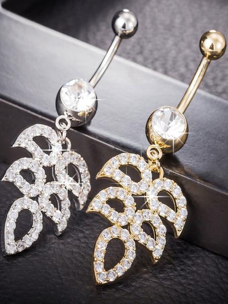 Copper Belly Pendant Chic Rhinestone Leaves Pattern Body Pierced Jewelry фото