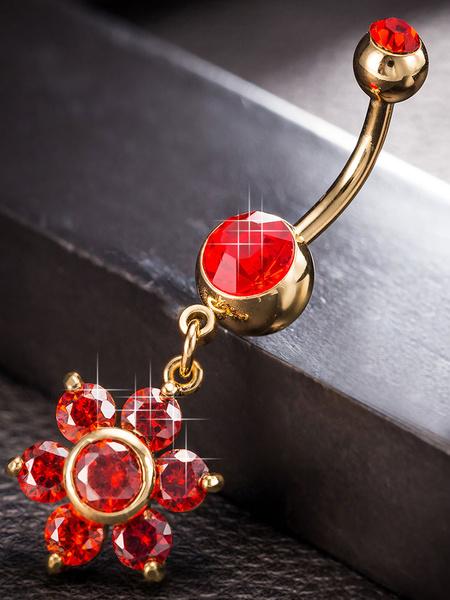 Belly Botton Rings Copper Red Flower Pattern Rhinestones Retro Body Pierced Jewelry фото