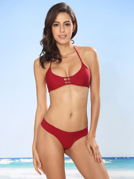 Sexy Bathing Suit Women's Brick Red Halter Strappy Bikini Swimming Suit In 2 Pieces фото