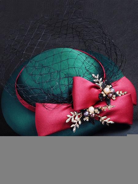 Vintage Wedding Hat Royal Pearls Beaded Bow Satin Net Hunter Green Bridal Headpieces фото