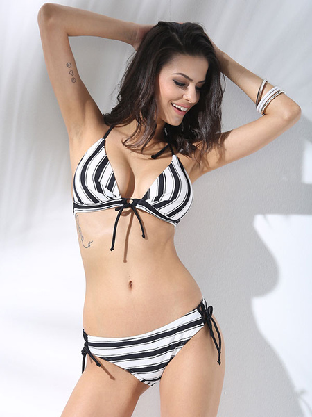 2pcs Bikini Swimsuit Black Halter Strappy Ties Stripes Sexy Bathing Suits