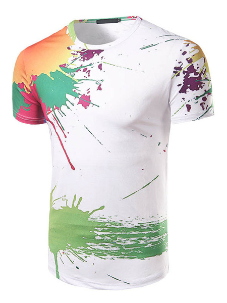 White T Shirt Short Sleeve Round Neck Printed Slim Fit Cotton Top For Men фото