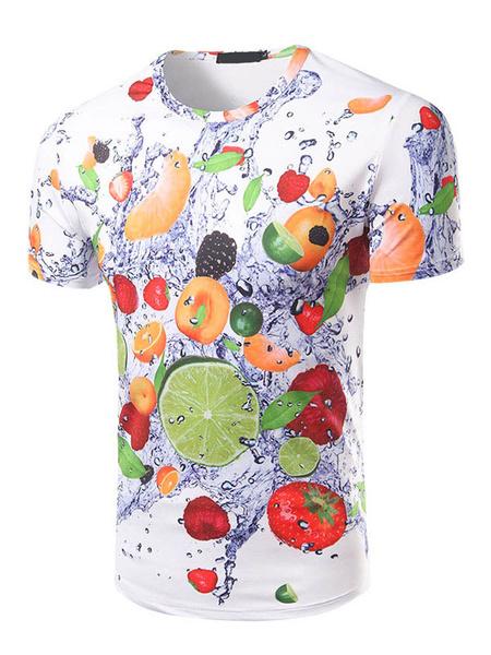 Men's White T Shirt Jewel Neck Short Sleeve 3D Fruits Printed Casual T Shirt фото