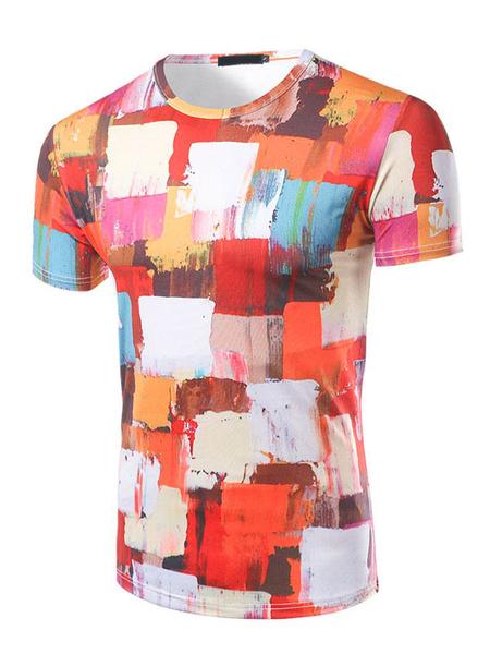 Men's Orange T Shirt Round Neck Short Sleeve Paint Patchwork Color Block Slim Fit T Shirt фото