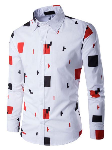 White Men's Shirts Geometric Pattern Casual Shirt фото