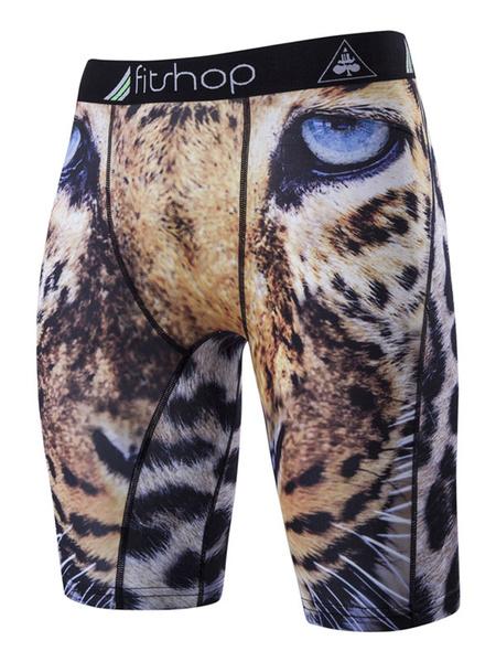Спортивные шорты мужские леопардовый печать приталенный Fit брюки сжатия