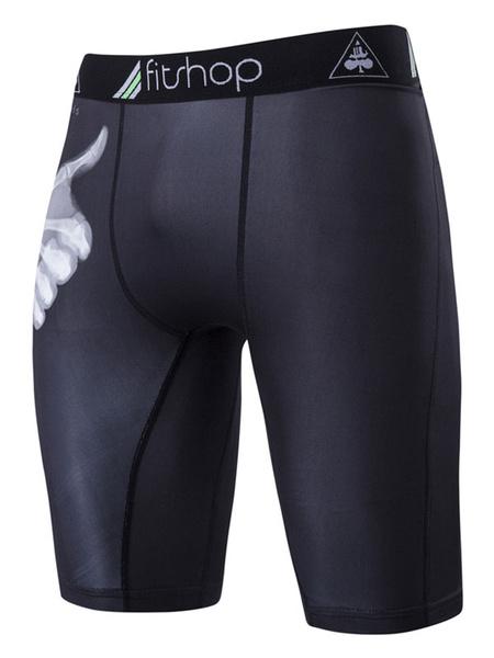 Черный сжатия шорты напечатаны мужская тонкий подходят спортивные брюки