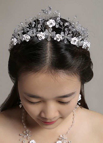 Wedding Jewelry Set White Headpieces Rhinestones Beaded Flowers Bridal Necklace With Earrings фото