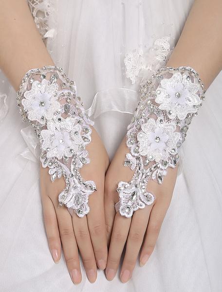 Lace Wedding Gloves White Fingerless Short Flowers Applique Rhinestones Beading Organza Ribbon Brida