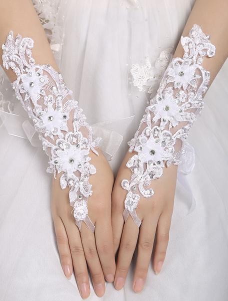 White Wedding Gloves Short Lace Applique Fingerless Rhinestones Beaded Bridal Gloves