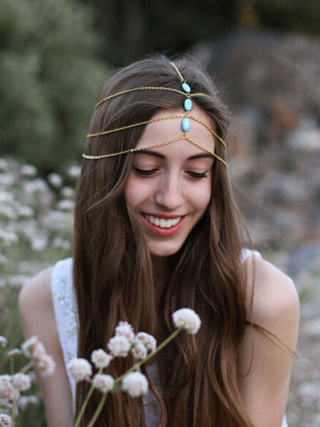 Boho Head Chains Gold Beaded Women's Layered Hair Accessories фото