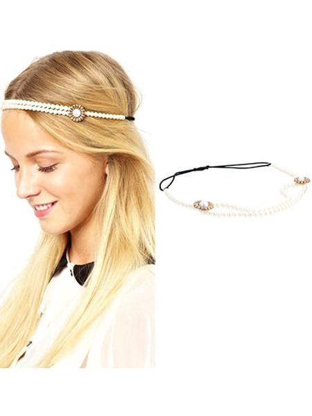 Women's Boho Headband Pearls Beaded Ivory Hair Accessories фото