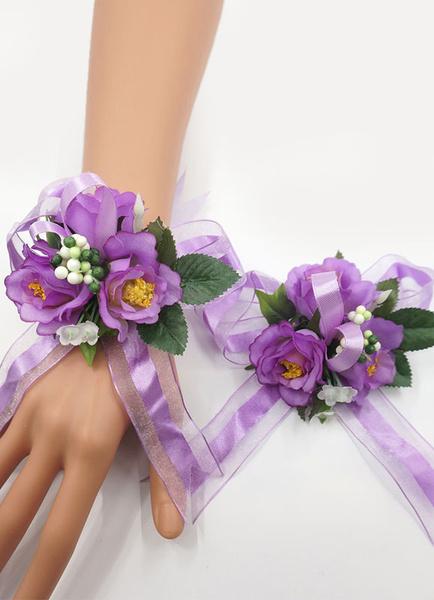 Wedding Wrist Corsage Bracelet Set Purple Silk Flowers Bridesmaid Corsage With Brooch фото