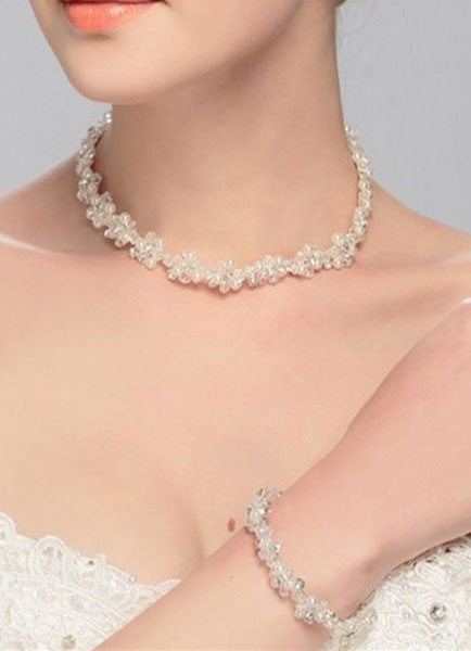Wedding Jewelry Set White Pearl Crystal Rhinestone Bridal Necklace Set In 3 Piece фото