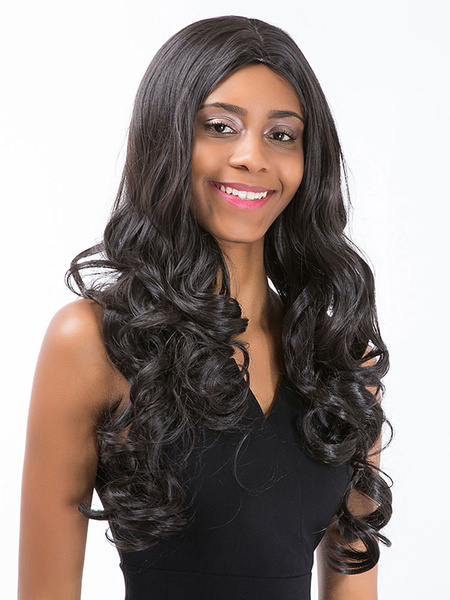 Black Hair Wigs Women's Centre Parting Long Curly Synthetic Wigs фото