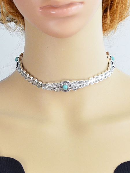 Silver Choker Necklace Women's Jeweled Decor Metallic Embossed Chic Necklace фото