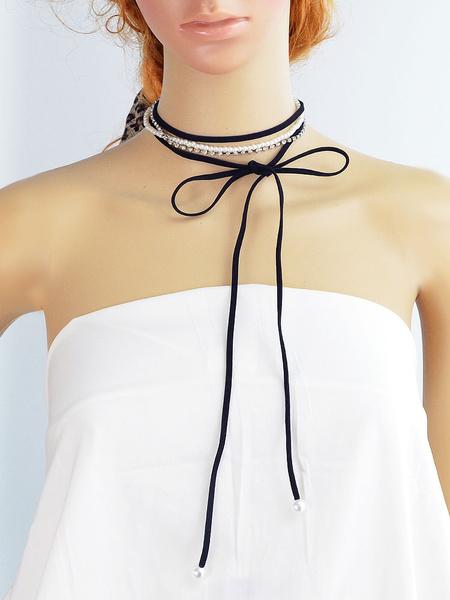 Süße Halskette für Damen Halskette in Schwarz für Kreuzfahrt mit Perlen im schicken & modischen Styl