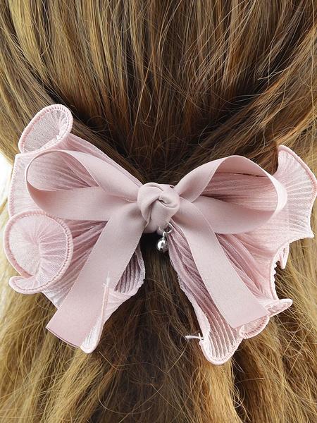 Bow Hair Clips Pink Women's Ribbon Ruffles Headpieces