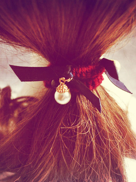 Pearls Hair Band Elastic Ribbon Bow Women's Pendant Headpieces