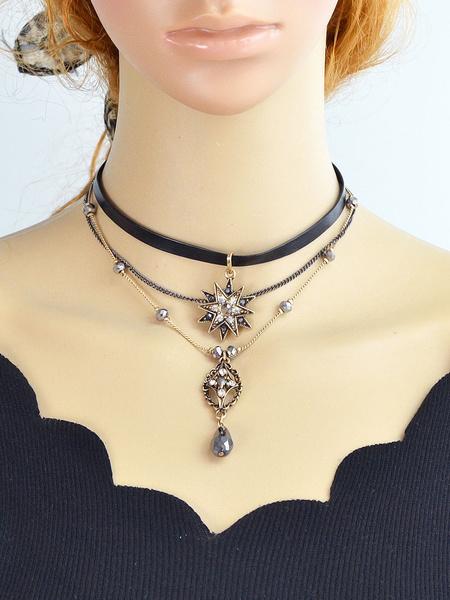 Süße Halskette für Damen Halskette in Golden für Abend mit Edelstein geschmückt im schicken & modisc