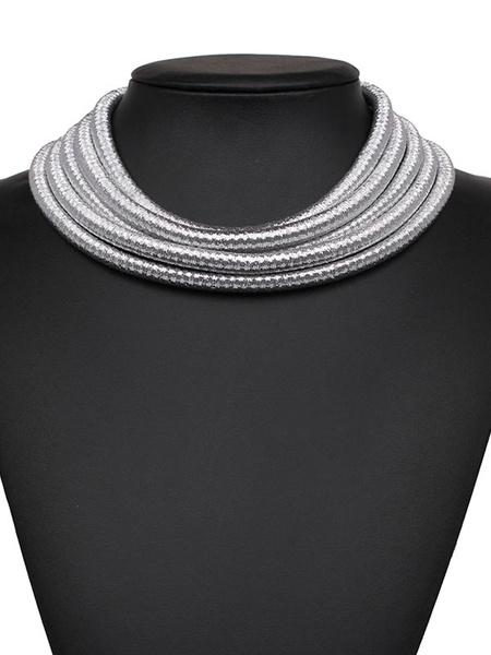 Silver Choker Necklace Women's Metallic Multi Layered Alloy Statement Necklace фото
