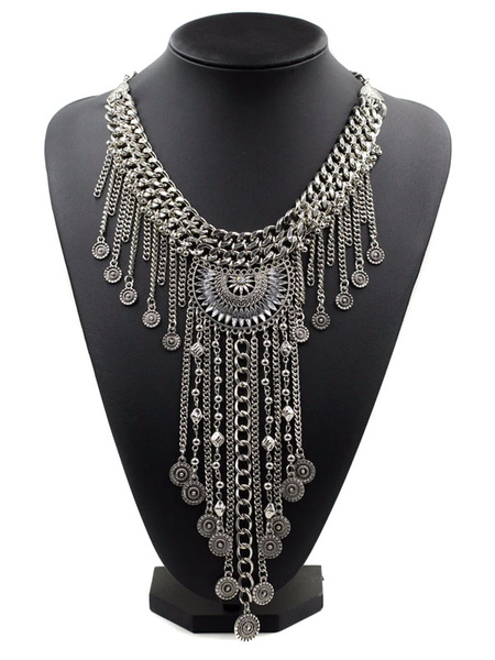 Women's Silver Necklace Ethnic Chain Detail Statement Necklace фото
