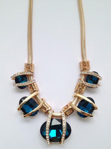 Blue Charm Necklace Women's Gemstones Beaded Rhinestones Pendant Necklace