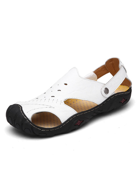 Men's White Sandals Cowhide Closed Toe Cut Out Slip On Starlet Pattern Beach Sandal Shoes