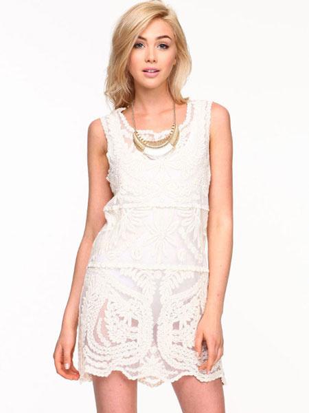 White Lace Dress Jewel Neck Sleeveless Semi-Sheer Short Dress For Women