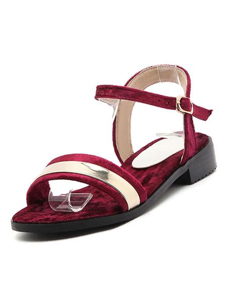 Velvet Derss Sandals Women's Burgundy Metallic Detail Ankle Strap Color Block Casual Sandals