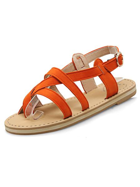 Suede Orange Sandals Women's Toe Ring Slingback Cut Out Flat Sandals