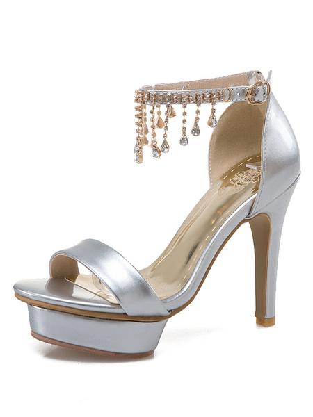 Silver Platform Sandals Women's Stiletto Ankle Strap Rhinestone Fringed High Heel D'orsay Sandals