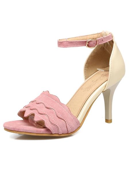 High Heel Sandals Women's Pink Stiletto Ankle Strap Wavy Upper Dress Sandals