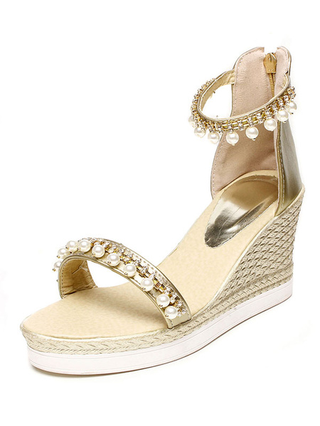 Golden Wedge Sandals Women's Pearls Decor Ankle Strap Platform High Heel Sandals