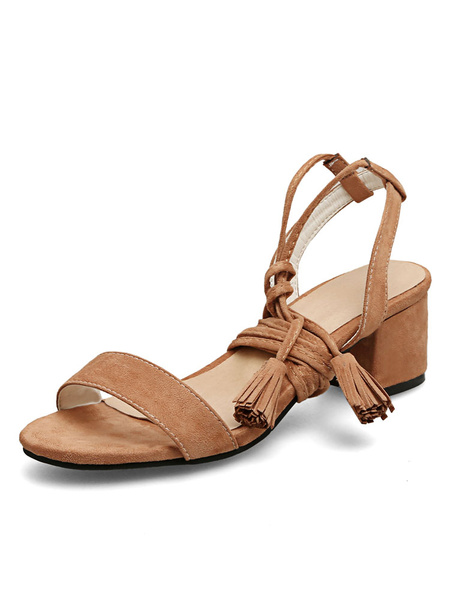 Brown Strappy Sandals Suede Chunky Heel Women's Open Toe Lace Up Sandal Shoes With Tassels