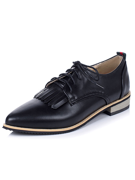 Black Oxford Shoes Pointed Toe Lace Up Flat Shoes For Women
