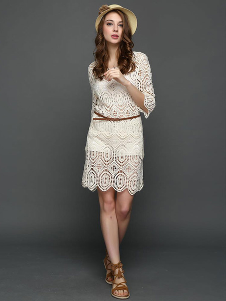 Apricot Lace Dress Women's Round Neck Half Sleeve Crochet Cut Out Semi Sheer Casual Dress