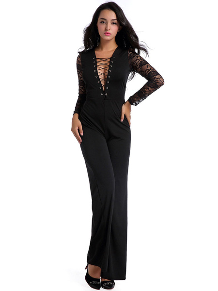 Women's Black Jumpsuit Lace Patchwork Deep V Neck Lace Up Long Illusion Sleeve Straight Leg Sexy Jum