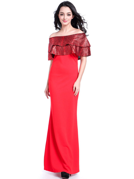 Red Maxi Dress Off The Shoulder Ruffles Women's Summer Long Dress
