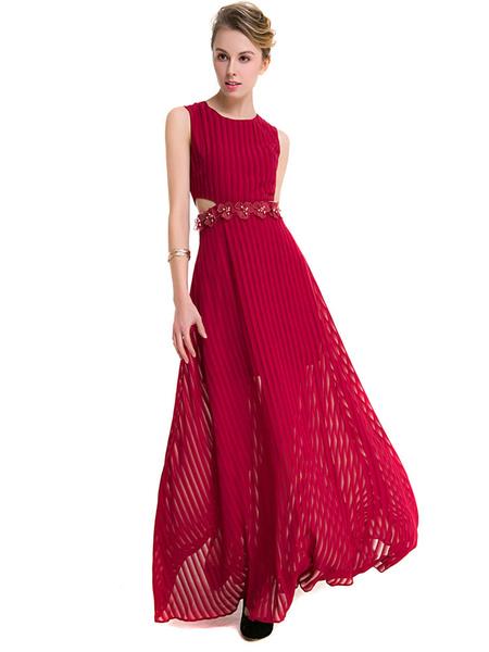 Burgundy Maxi Dress Chiffon Jewel Neck Sleeveless Flowers Beaded Cut Out Long Dress