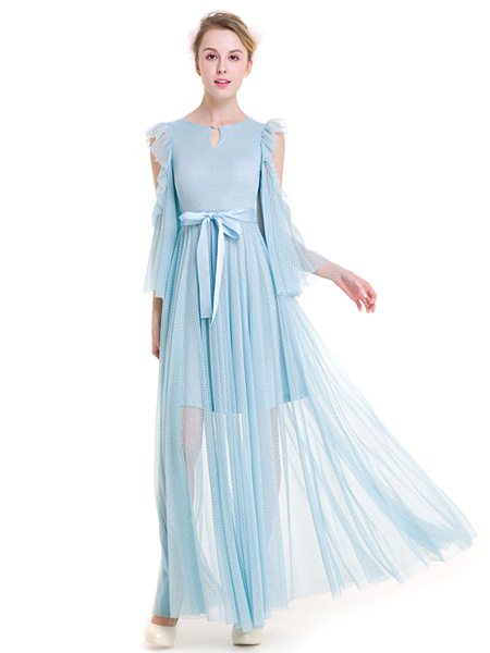 Lace Summer Dress Women's Light Blue Jewel Neck Flared Sleeve Pleated Ruffles Cold Shoulder Maxi Dre фото