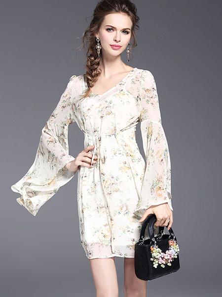 Mousseline de soie robe d'été abricot V cou Bell manches longues imprimé robe courte avec veste