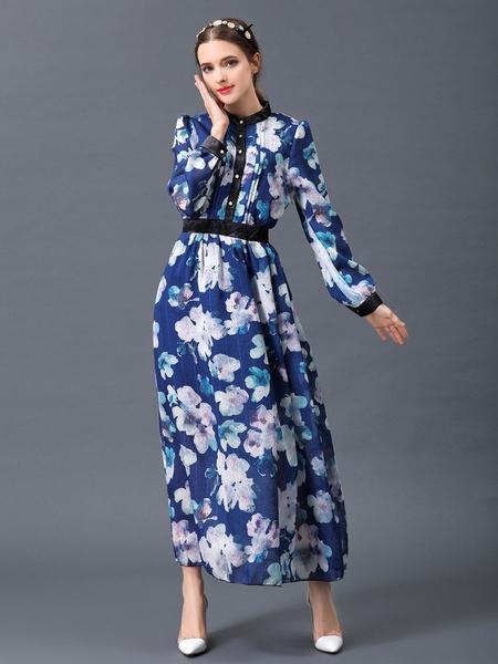 Women's Maxi Dress Deep Blue Stand Collar Long Sleeve Floral Printed Long Dress