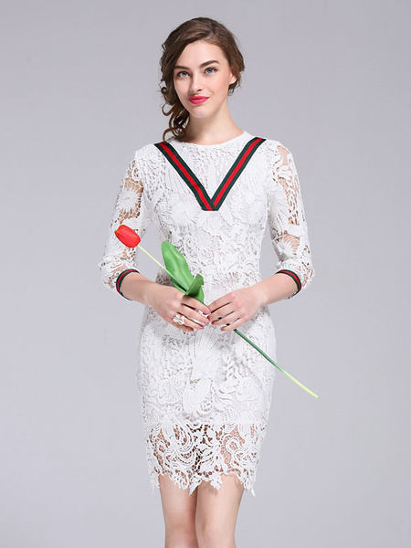 Lace Party Dress Women's Round Neck 3/4 Length Sleeve Floral Printed Contrast Shaping Bodycon Dress фото