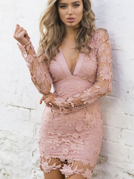 Pink Lace Dress Sexy Backless V Neck Bodycon Dress For Women фото