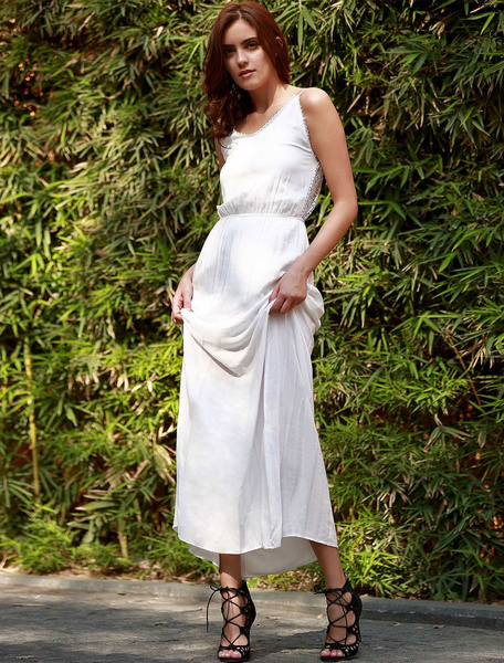 White Maxi Dress Boho V Neck Backless Women's Summer Beach Long Slip Dress фото