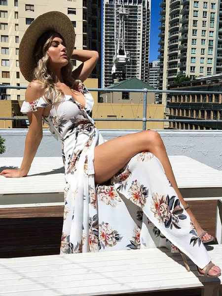 Boho Maxi Dress Chiffon V Neck Ruffle Short Sleeve Floral Printed Slit Summer Dress