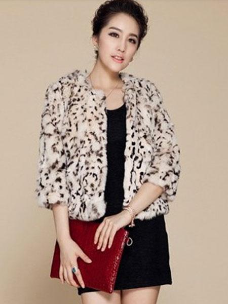 Faux Fur Coat Leopard Jewel Neck 3/4 Length Sleeve Short Coat For Women