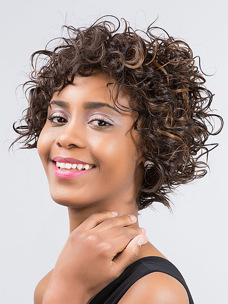 Short Hair Wigs African American Deep Brown Curly Synthetic Wigs