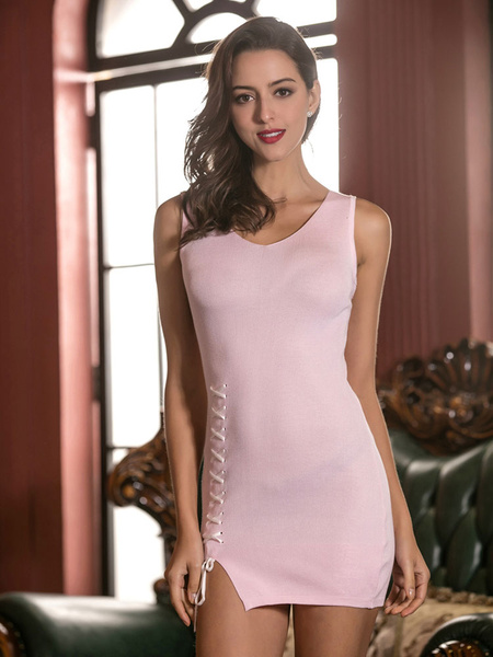 Pink Mini Dress Lace Up Slim Fit Women's Sexy Bodycon Dress фото